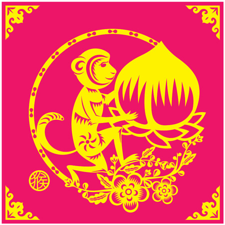 couplets: Monkey holds a big peach year couplets illustration