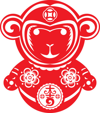 cut paper: Red Paper cut style monkey zodiac symbol illustration