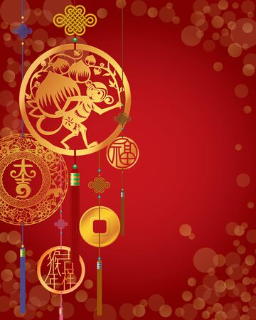 fortune telling: Chinese Monkey New Year decorative red background
