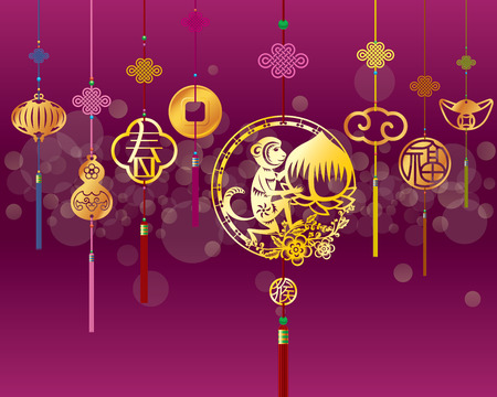 chinese flower: Chinese New Year monkey illustration with golden decoration in purple background