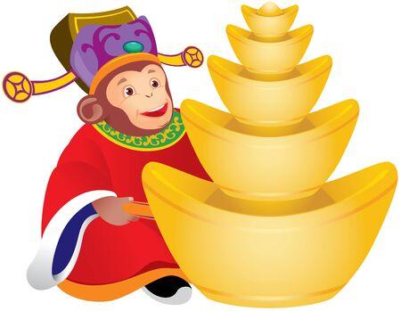 bringing home the bacon: Chinese monkey god of prosperity design illustration, holding the golden ingots