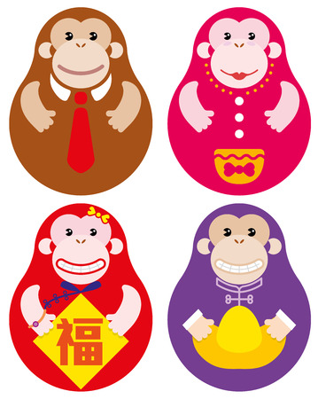 sow: Year of Monkey Russian doll illustration set