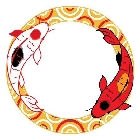 zen like: Pair of carp koi on Water graphic illustration Illustration