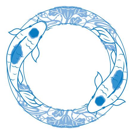 zen like: Pair of carp koi illustration in blue and white china ceramics style