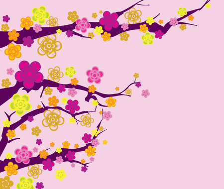 time lapse: Spring background with branches and flowers for your design in pink background