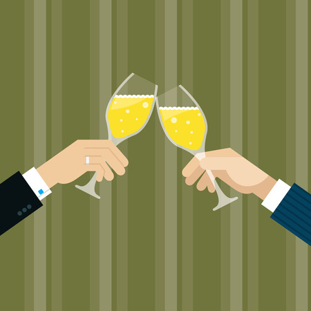 drinks after work: 2 business men are toasting with white wine Illustration