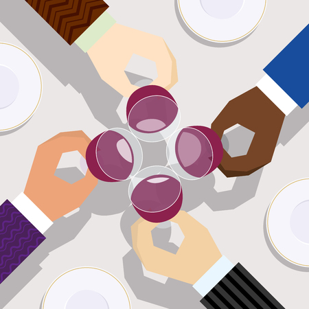aerial: Drink for success meeting from aerial view