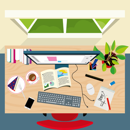 home and office: Top view of graphic designer concept desk at home office