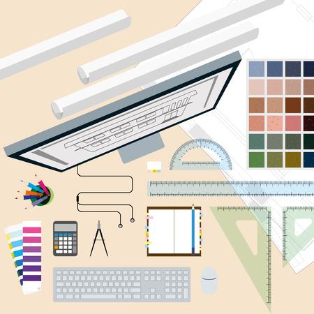 interior designer: Top view of  interior designer white desk with tool and elements
