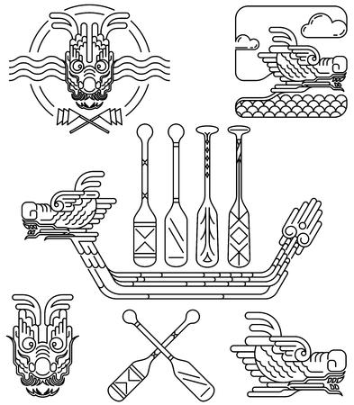 bateau de course: Dragon icône ligne de dessin pour le festival du bateau dragon chinois