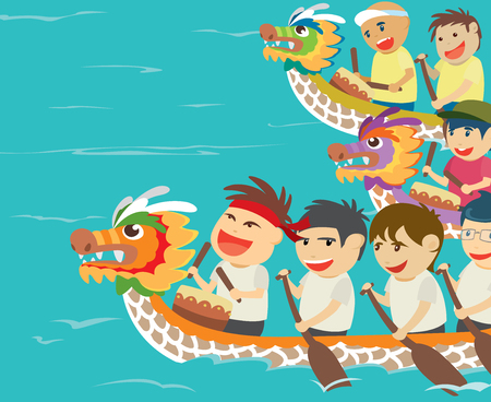illustration of happy kids in a dragon boat racing