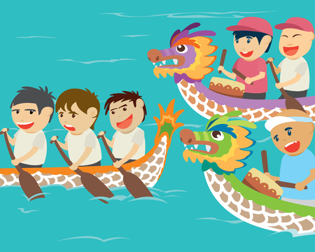 bateau de course: illustration of happy kids in a dragon boat racing