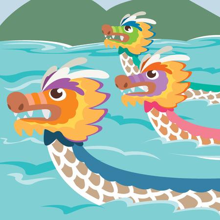 Dragon boat racing in cartoon illustration style