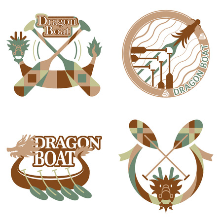 japanese script: Dragon boat festival items design set, Chinese means Dragon boat festival