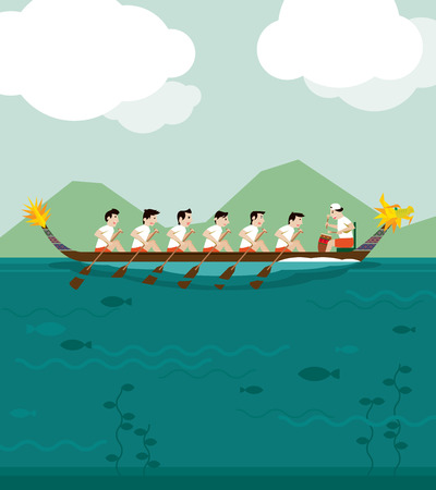 bateau de course: Dragon boat racing illustration background Illustration