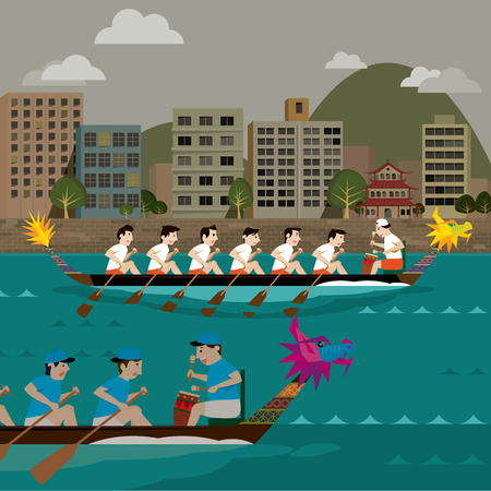 Two Dragon boat racing illustration