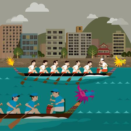 lifeboat: Two Dragon boat racing illustration