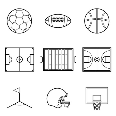 rugby field: Soccer football and basket ball line Illustration set