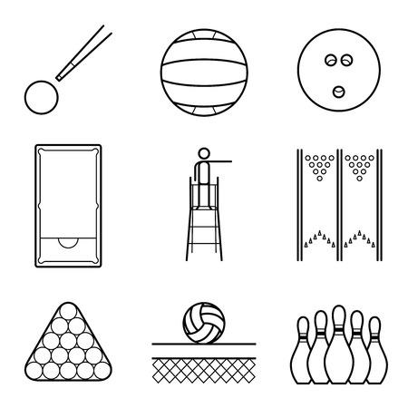 Snooker, volley & bowling line Illustration set