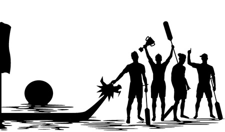 boat crew: Dragon boat crew winning Silhouette illustration design Illustration