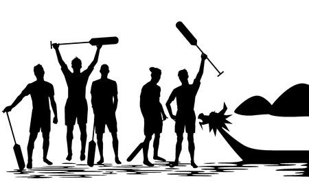 bateau de course: Dragon Boat équipage vainqueur Silhouette illustration design