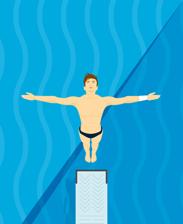 jumping into water: An athlete Jumps from diving board design Illustration