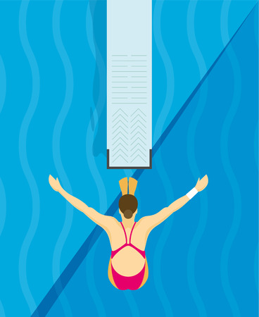 aerial view: An athlete Jumps from diving board design Illustration