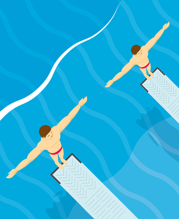 jumping into water: Standing on diving board and preparing to dive design Illustration
