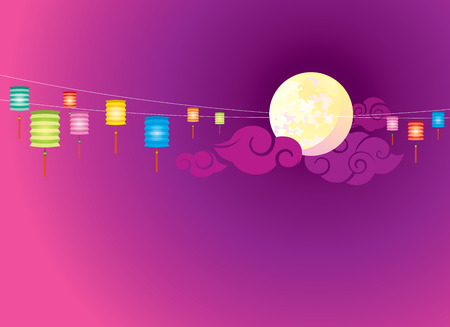sky lantern: Full moon and hanging lanterns background for the Mid autumn festival or Chinese New Year Illustration