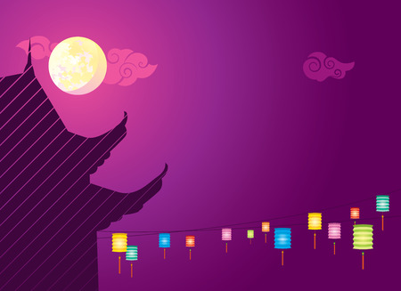 chinese new year vector: Full moon and hanging lanterns background for the Mid autumn festival or Chinese New Year Illustration