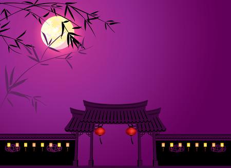 Medio herfst volle maan en Chinese memorial arch achtergrond