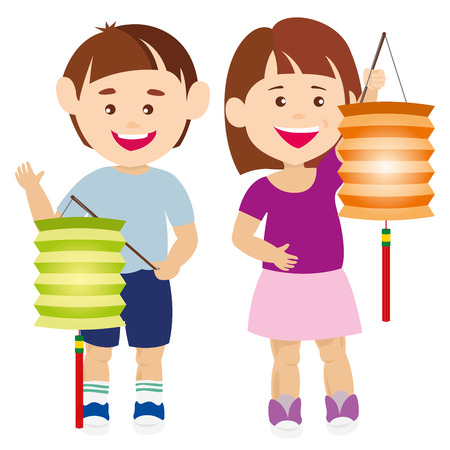 Smiling Kids holding the Chinese lanterns illustration Çizim