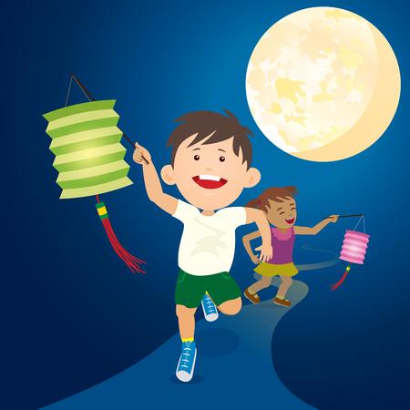 Running Kids hold the paper lantern under full moon for mid autumn festival