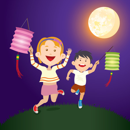 Running Kids hold the paper lantern under full moon for mid autumn festival