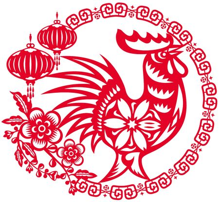 chinese astrology: Year of Chinese rooster sign illustration Illustration