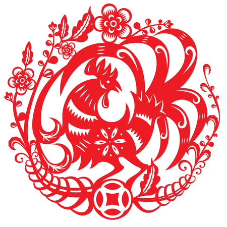 chinese astrology: Vector illustration of Chinese year of rooster, dancing around the flowers
