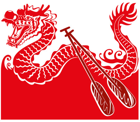 Chinese Dragon Boat background illustration