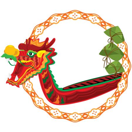 Barco de dragón chino y zong zi diseño de arte Foto de archivo - 76230380