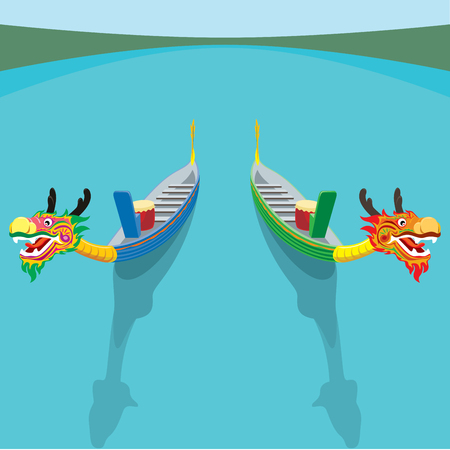 A pair of dragon boats vector illustration in top angle view Illustration