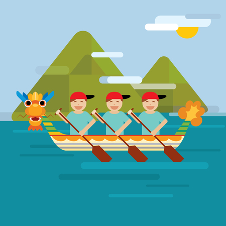 bateau de course: Dragon boat behind the mountains in flat design style Illustration