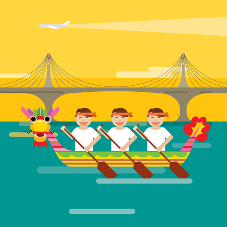 Dragon boat behind the brigde in flat design style