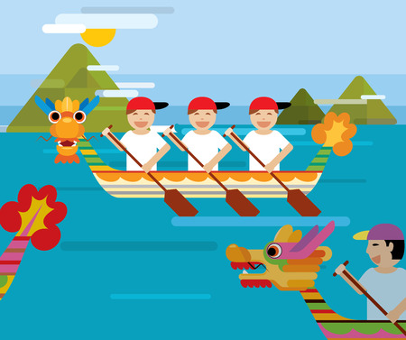 Dragon boat behind the mountains in flat design style Illustration