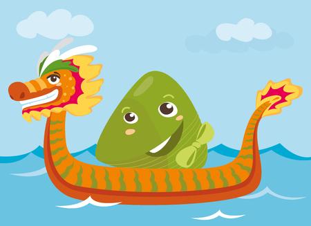 Dragon boat & rice dumpling cartoon characters illustration Illustration