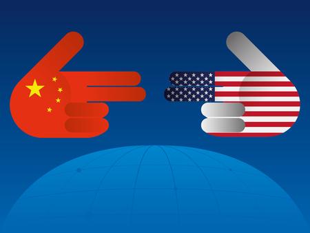 Trade war between China and USA illustration.
