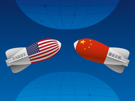 Trade war between China and USA illustration.
