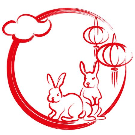 Full moon, Rabbit and Lanterns brush painting illustration 일러스트