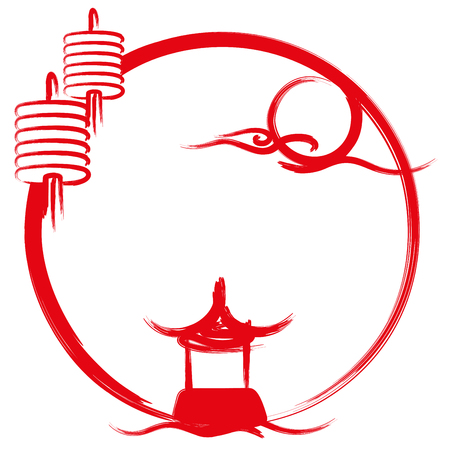 Temple, moon and lanterns brush painting illustration