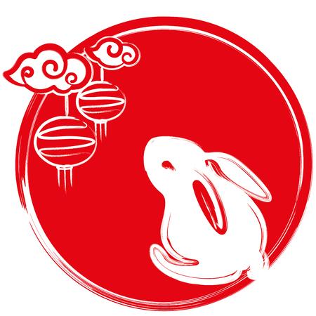Rabbit and moon design illustration icon