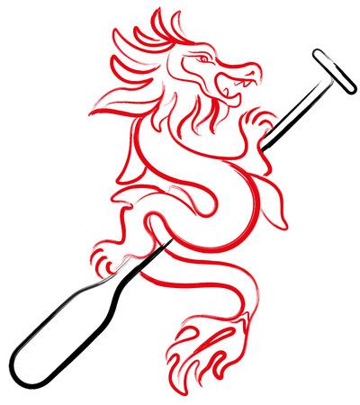 Brush painting Dragon boat icon design illustration