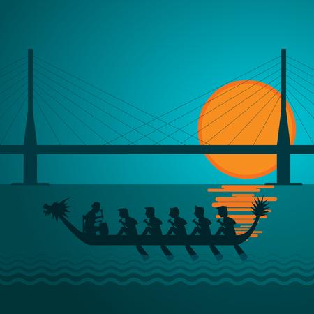 Dragon boat and bridge in sun set vector illustration